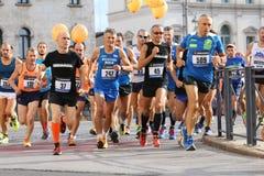 Vicenza, Italia, il 20 settembre 2015 Corridori di maratona Fotografie Stock Libere da Diritti