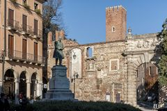 External view of the Olympic theatre teatro olimpico, the oldest surviving stage set still in existence. VICENZA, ITALY - DECEMBER 29, 2018: External view of the royalty free stock photography