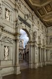 Interior view of the Olympic theatre teatro olimpico, the oldest surviving stage set still in existence stock images