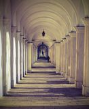 Vicenza Italy the long arched corridor with vintage effect. Vicenza Italy the long arched corridor leading to the sanctuary of Monte BERICO  with vintage effect Stock Photography