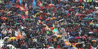 VICENZA, ITALY - October 13, 2015: UEFA Under-21 Championship Qu. Alifying Round, football match between Italy and Republic of Ireland. Spectators in the stands Stock Image