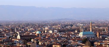 Vicenza, Italy, Panorama of the city and the houses of the downt Royalty Free Stock Photos