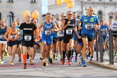 Vicenza, Italy, 20 September 2015. Marathon runners Royalty Free Stock Photos