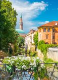 Vicenza, Italy. View of the old historical architecture, the Bacchiglione river, residential houses and fence decorated with flowers Royalty Free Stock Photo