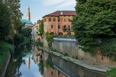 Vicenza, Italy: View on Canal River Retrone and The Basilica Palladiana Stock Photo