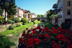 Vicenza Italy. View of the old bridge San Paolo in Vicenza Italy stock photos