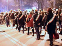 Vicenza, VI, Itália 15 de novembro de 2015, muitos povos que marcham dentro Imagens de Stock Royalty Free
