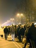 Vicenza, VI, Itália 15 de novembro de 2015, muitos povos que marcham dentro Fotografia de Stock Royalty Free