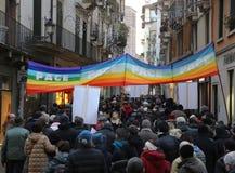 Vicenza (vi) Italia 1 de enero de 2016 Paz marzo a lo largo del stre Fotografía de archivo libre de regalías