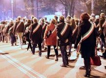 Vicenza, VI, Italien 15. November 2015 viele Leute, die herein marschieren Lizenzfreie Stockbilder