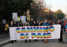 Vicenza (VI) Italien 1st Januari 2016 Biskop för fredmars av Arkivfoton