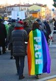 Vicenza (VI) Italien 1st Januari 2016 Fredmars längs stren Fotografering för Bildbyråer
