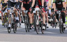 Vicenza, Vi,Italy - April 12, 2015: cyclists on racing bikes Royalty Free Stock Photography