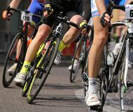 Vicenza, Vi, Italy - April 12, 2015: cyclists on racing bikes Royalty Free Stock Photo