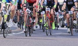 Vicenza, Vi, Italy - April 12, 2015: cyclists on racing bikes Royalty Free Stock Image