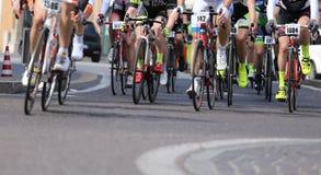 Vicenza, Vi, Italy - April 12, 2015: cyclists on racing bikes Royalty Free Stock Photos