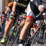 Vicenza, Vi, Italy - April 12, 2015: cyclists on racing bikes Royalty Free Stock Images