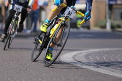 Vicenza, Vi, Italy - April 12, 2015: cyclists on racing bikes Stock Image