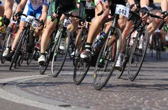 Vicenza, Vi, Italy - April 12, 2015: cyclists on racing bikes Royalty Free Stock Photos