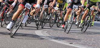 Vicenza, Vi, Italy - April 12, 2015: cyclists on racing bikes Stock Photography