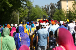 Vicenza, VI, Italy - April 8, 2017: people Sikh procession pray Stock Image
