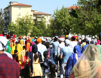 Vicenza, VI, Italy - April 8, 2017: people Sikh procession pray Royalty Free Stock Image