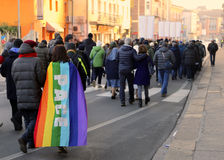 Vicenza (VI) Italy. 1st January 2016. Peace March along the stre Royalty Free Stock Image