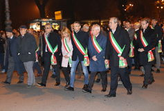 Vicenza, VI, Italy. 15th november, 2015, Achille variati Mayor o. F Vicenza City and other mayors in the province with many people marching in memory of the Stock Photography