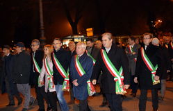 Vicenza, VI, Italy. 15th november, 2015, Achille variati Mayor o. F Vicenza City and other mayors in the province with many people marching in memory of the Royalty Free Stock Photography