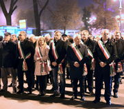 Vicenza, VI, Italy. 15th november, 2015, Achille variati Mayor o. F Vicenza City and other mayors in the province with many people marching in memory of the Royalty Free Stock Image