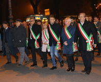 Vicenza, VI, Italy. 15th november, 2015, Achille variati Mayor o. F Vicenza City and other mayors in the province with many people marching in memory of the Royalty Free Stock Photos