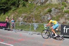 Vicenzo Nibali wins. CHAMROUSSE, FRANCE, JULY 18, 2014 : Italian champion Vicenzo Nibali in Saint-Etienne - Chamrousse stage of Tour de France. Tour de France is Stock Photo