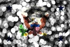 Vicepresident av den abstrakta oskarpa bokehflaggan för Förenta staterna Jul, nytt år och begreppsflagga för nationell dag förena stock illustrationer