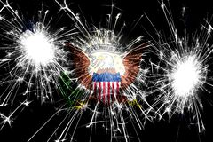 Vicepresident av Förenta staternafyrverkerierna som mousserar flaggan Nytt år, jul och begrepp för nationell dag Förenta staterna vektor illustrationer