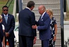 Vicepresidente José 'Joe' Biden de los E.E.U.U. llega en Belgrado Fotos de archivo libres de regalías