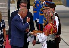 Vicepresidente José 'Joe' Biden de los E.E.U.U. llega en Belgrado Foto de archivo