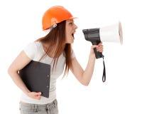 vicevärd för konstruktionskvinnligmegafon Arkivbild