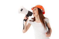 vicevärd för konstruktionskvinnligmegafon Arkivfoto