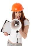 vicevärd för konstruktionskvinnligmegafon Royaltyfria Bilder
