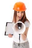 vicevärd för konstruktionskvinnligmegafon Royaltyfri Foto