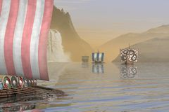 Vichingo Longships in un fiordo norvegese Immagini Stock