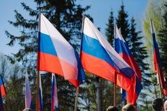 VICHUGA,俄罗斯- 2015年5月9日:以纪念胜利的游行在第二次世界大战,俄罗斯 图库摄影