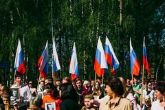 VICHUGA,俄罗斯- 2016年5月9日:以纪念胜利的游行在第二次世界大战,俄罗斯 图库摄影