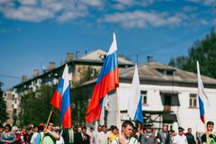 VICHUGA,俄罗斯- 2016年5月9日:以纪念胜利的游行在第二次世界大战,俄罗斯 免版税库存图片