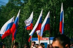 VICHUGA,俄罗斯- 2016年5月9日:以纪念胜利的游行在第二次世界大战,俄罗斯 免版税图库摄影
