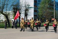 VICHUGA, RUSIA - 9 DE MAYO DE 2015: Desfile en honor de la victoria en la Segunda Guerra Mundial, Rusia Imagenes de archivo