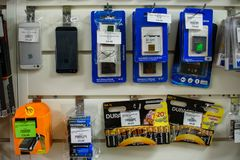VICHUGA, RUSSIA - APRIL 21, 2018: Various batteries and accumulators. In the store Royalty Free Stock Image