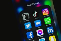 VICHUGA, RUSSIA - FEBRUARY 20, 2021: Icons of trending social media apps on smartphone screen