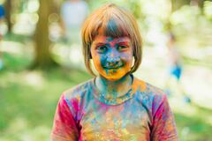 VICHUGA, RUSSIA - JUNE 17, 2018: Festival of colors Holi. Happy joyful children. On holiday