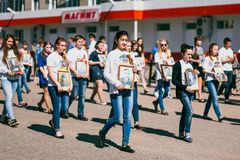VICHUGA, RUSSIA - MAY 9, 2016: Immortal Regiment - people with portraits of their relatives, participants in the Second. VICHUGA, RUSSIA - MAY 9, 2015: Immortal Royalty Free Stock Photo